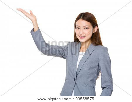 Asian young businesswoman with open hand palm
