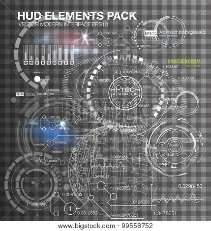 Abstract future, concept vector futuristic virtual graphic touch user interface HUD elements on transparent background vector illustration. White infographic elements. futuristic user interface HUD