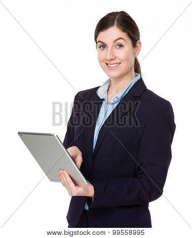 Businesswoman use of the digital tablet