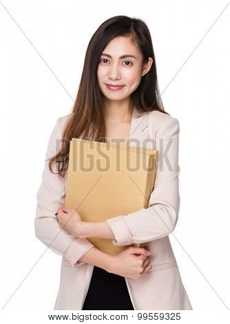 Asian businesswoman hold with document work