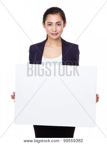 Asian young businesswoman show with placard