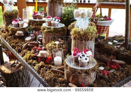 Forest Candy bar, decorated with fresh berries delicious cakes.