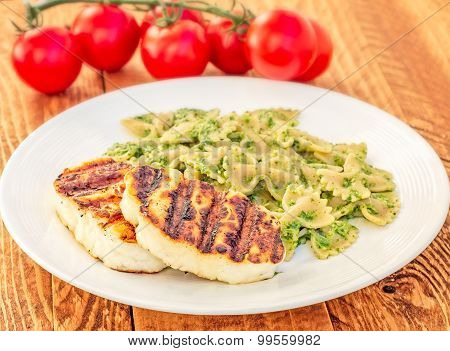 Grilled Halloumi With Pesto Farfalle