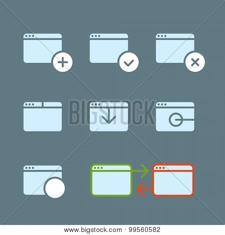 Different web browser icons set with rounded corners. Design element