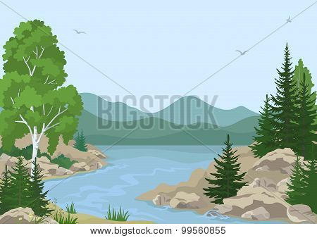 Landscape with Trees and Mountain River