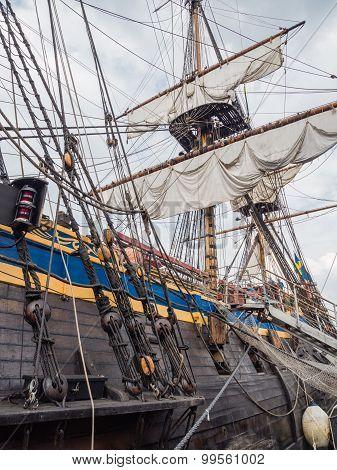 Gun deck and mastst of tall ship Gotheborg