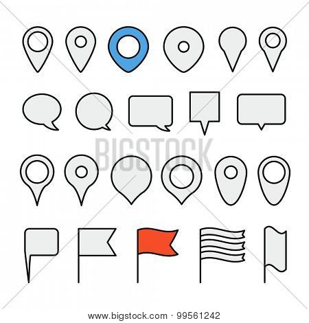 Navigation pins collection. Minimalism illustration