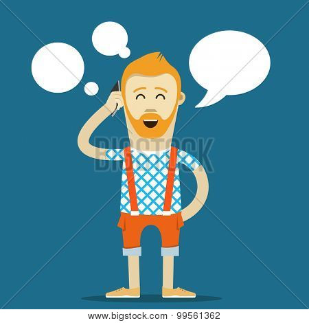 Yound hipster talking vector template. Place your text into the communication cloud