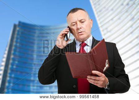 Businessman at the phone while looking his agenda