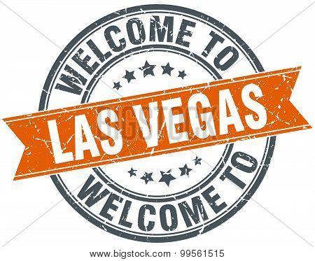 Welcome To Las Vegas Orange Round Ribbon Stamp