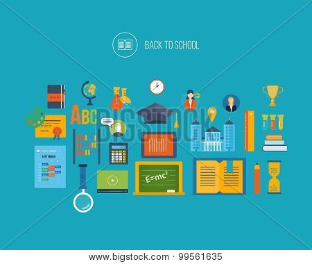 Back to school flat icons design.