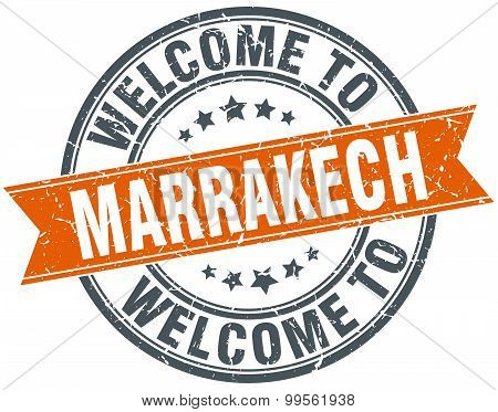 Welcome To Marrakech Orange Round Ribbon Stamp