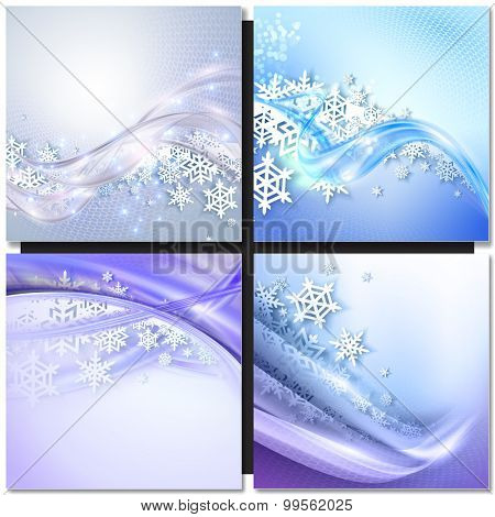 Abstract blue winter background with snowflakes