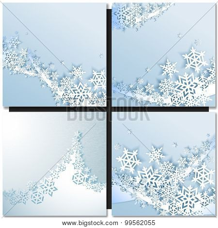 Abstract blue wave winter background with snowflakes