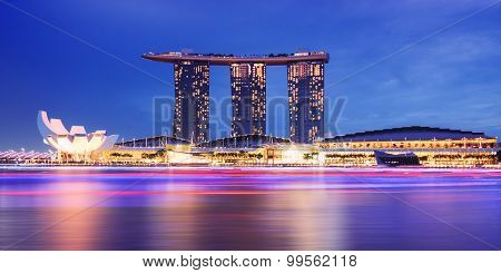 SINGAPORE -May 9: Marina Bay waterfront in Singapore. Marina Bay Sands Hotel dominates the skyline a