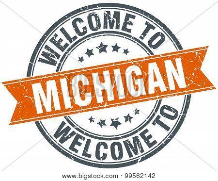 Welcome To Michigan Orange Round Ribbon Stamp