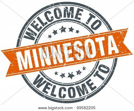 Welcome To Minnesota Orange Round Ribbon Stamp