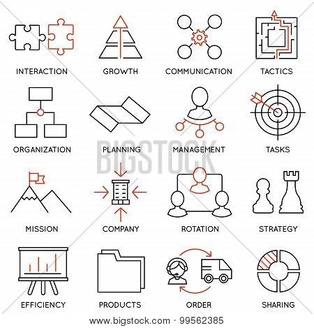 Set Linear Icons Of Business Management, Strategy, Career Progress - part 1