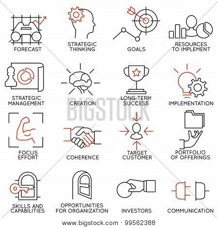 Set Linear Icons Of Business Management, Strategy, Career Progress - part 2