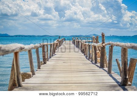Seaside wooden bridge