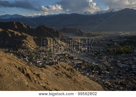 View of Leh city during sunset take from Namgyal Tsemo Gompa Ladakh ,India.