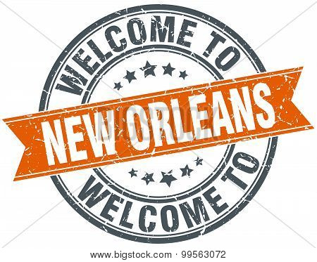 Welcome To New Orleans Orange Round Ribbon Stamp