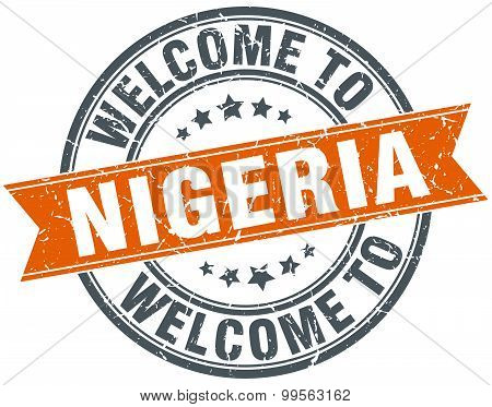 Welcome To Nigeria Orange Round Ribbon Stamp