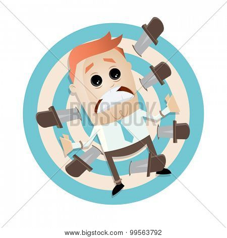 cartoon man on target with knives