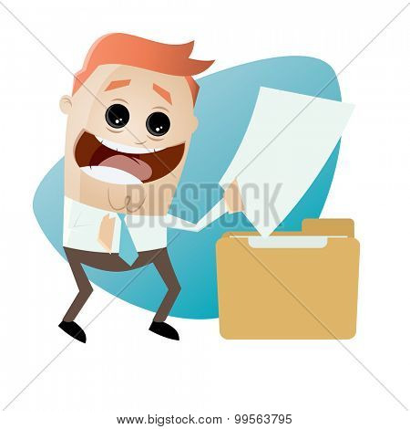 cartoon man with document and folder