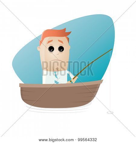 sad cartoon man sitting in a boat and waiting for a catch