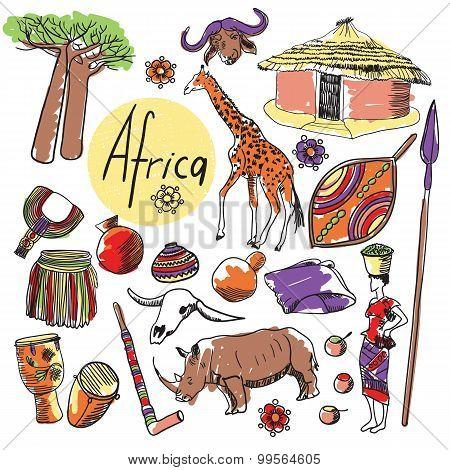 Vector set of tourist attractions Africa.