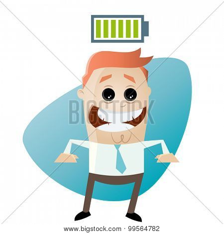 cartoon man with full battery