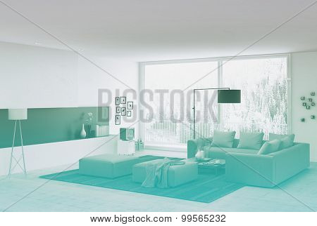 Couches at Elegant White Architectural Living Room with Glass Windows for Natural Outside View. 3d Rendering.