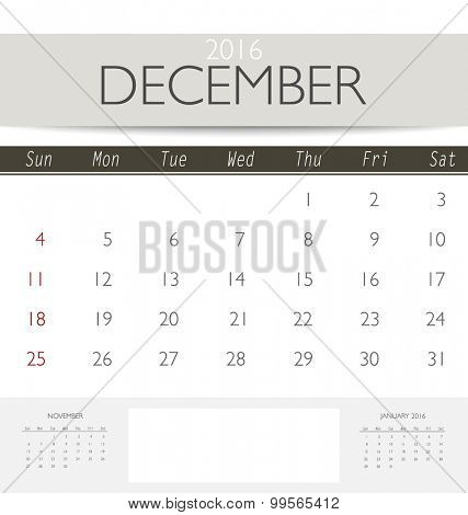 2016 calendar, monthly calendar template for December. Vector illustration.