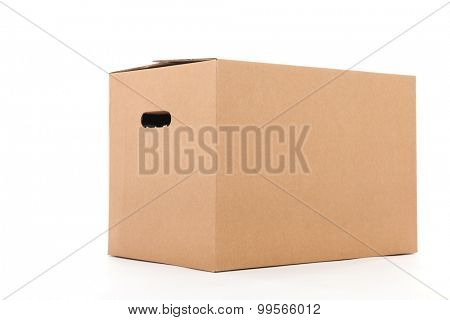 Closed carton box isolated over white background