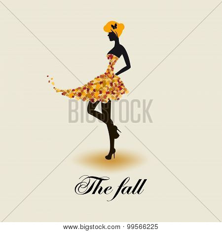 Stylized background with autumn women silhouette
