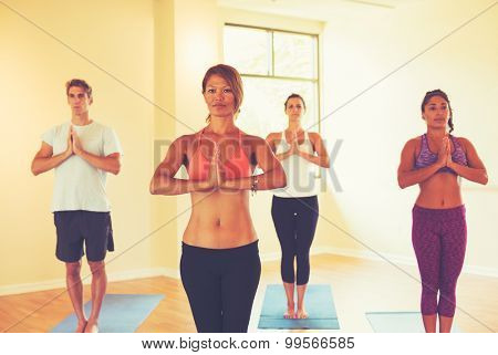 Group of People Relaxing and Doing Yoga. Wellness and Healthy Lifestyle.