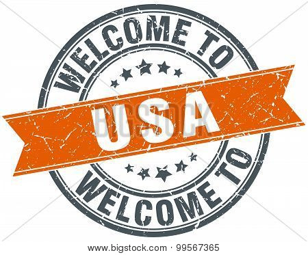 Welcome To Usa Orange Round Ribbon Stamp