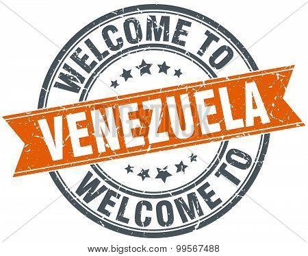 Welcome To Venezuela Orange Round Ribbon Stamp