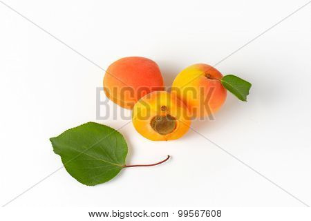 fresh whole and halved apricots with leaf