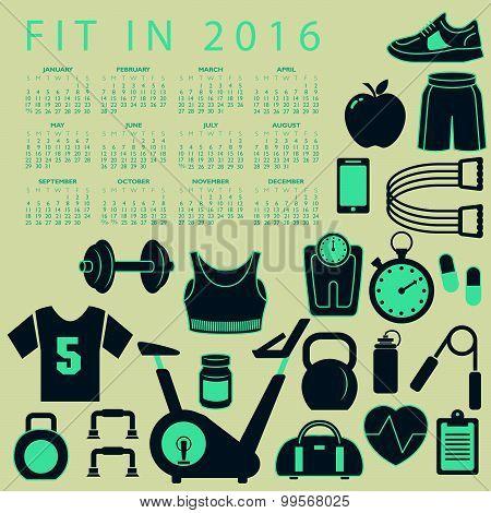 Fit in 2016 creative colorful calendar