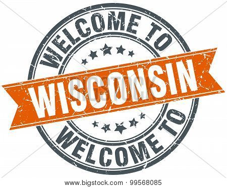 Welcome To Wisconsin Orange Round Ribbon Stamp