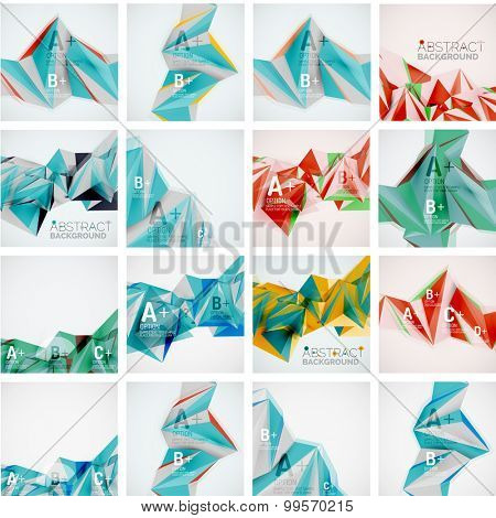 Set of triangle geometric 3d forms. Modern info banner abstract backgrounds, message presentations or identity layouts