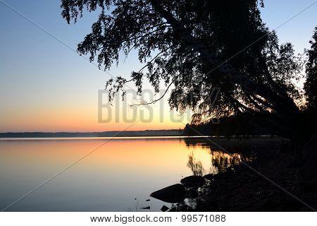 Sunset Over Lake.