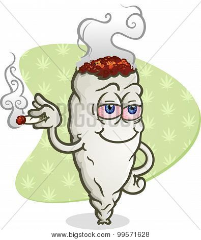 Marijuana Smoking a Joint Cartoon Character