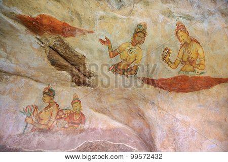 Exterior of the 5th century fresco wall paintings of Sigiriya rock fortress in Sigiriya, Sri Lanka.