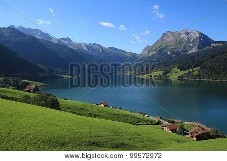 Green Farmland, Lake Waegitalersee And Fluebrig