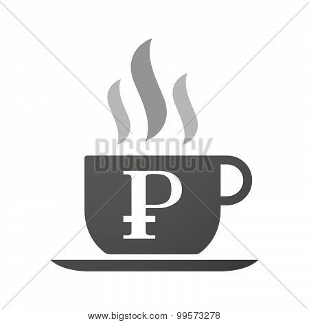 Cup Of Coffee Icon  With A Ruble Sign