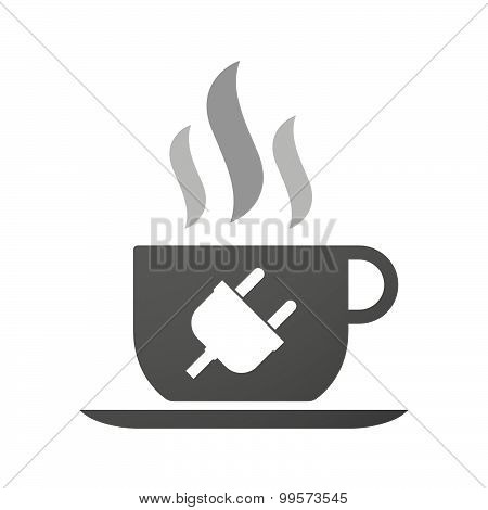 Cup Of Coffee Icon  With A Plug