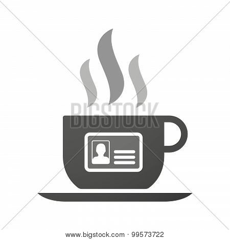 Cup Of Coffee Icon  With An Id Card